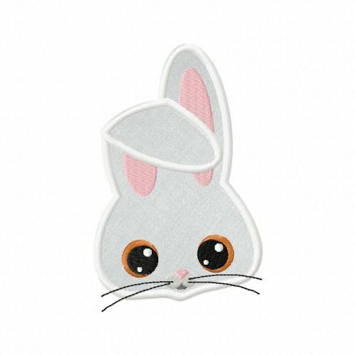 Farm Bunny Applique 5_5 Inch