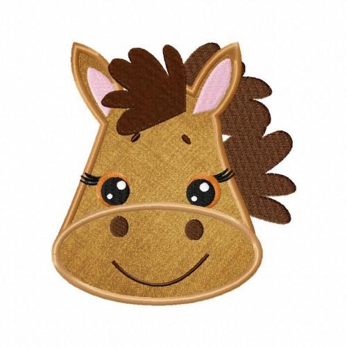 Farm Horse Face Applique 5_5 Inch