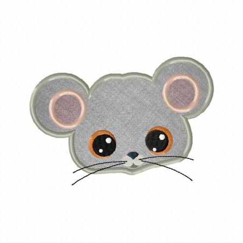 Farm Mouse Face Applique 5_5 Inch