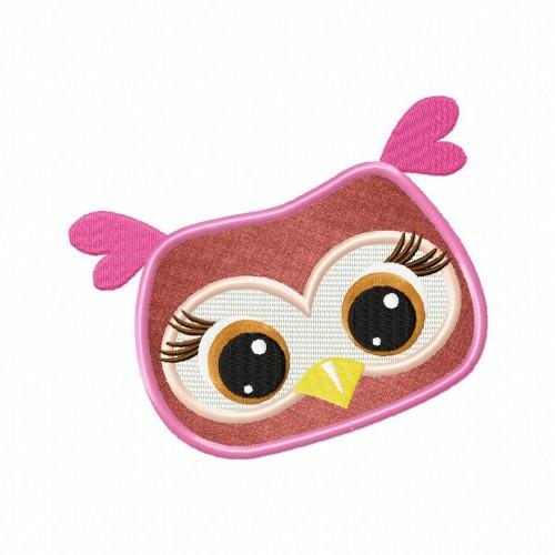 Farm Owl Face Applique 5_5 Inch
