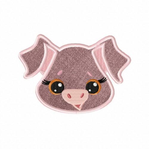 Farm Pig Applique 5_5 Inch