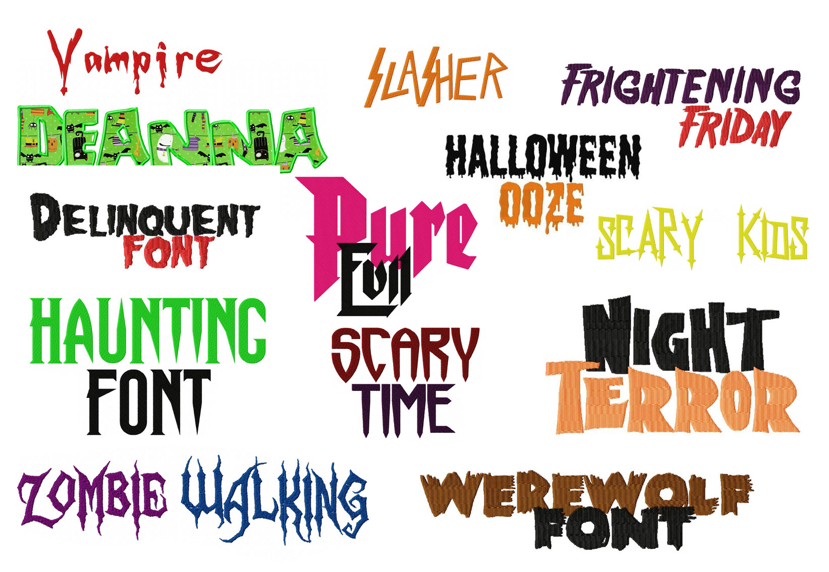 Halloween Embroidery Font Deal | Embroidery Super Deal