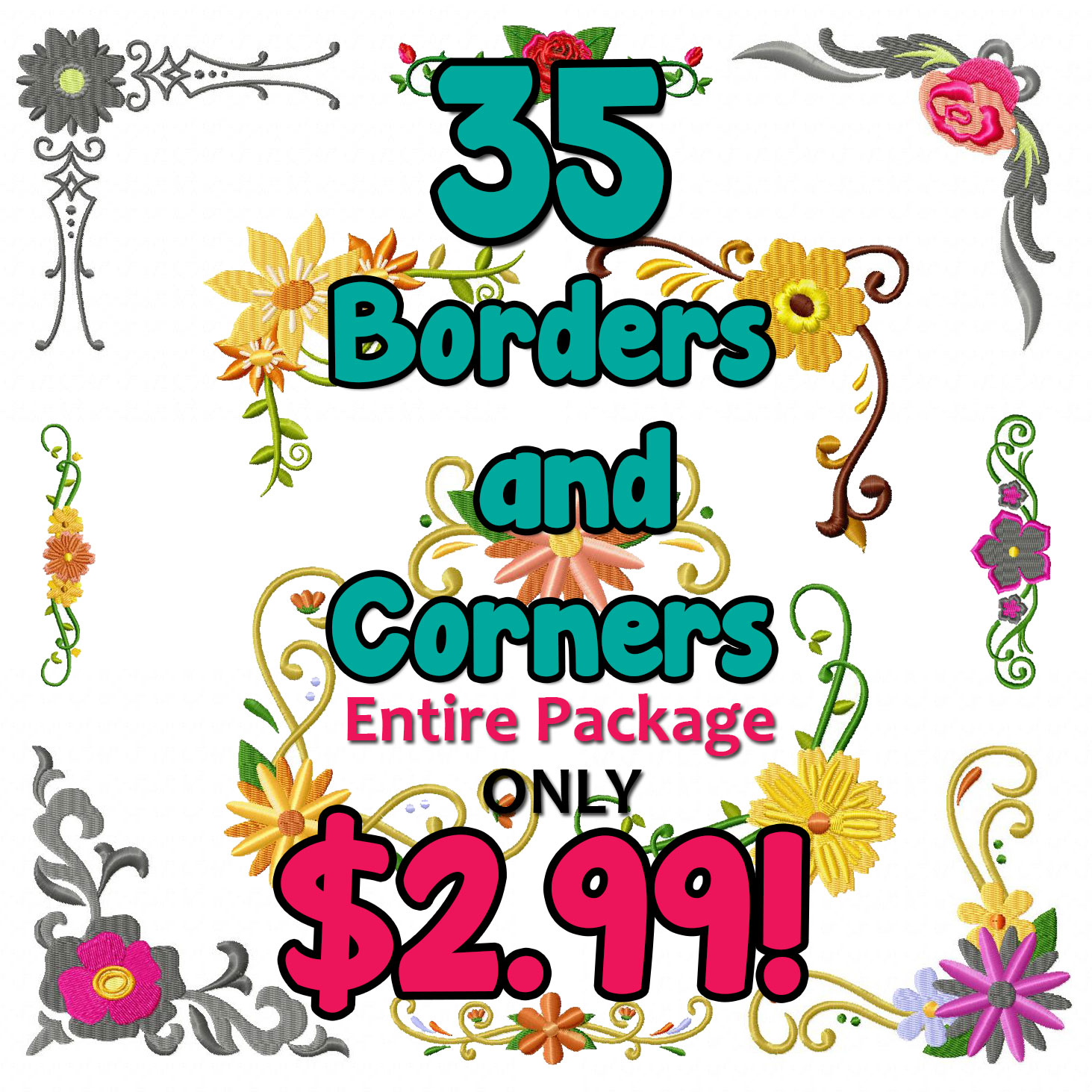 35 Borders and Corners Floral Designs Entire Package ly $2 99
