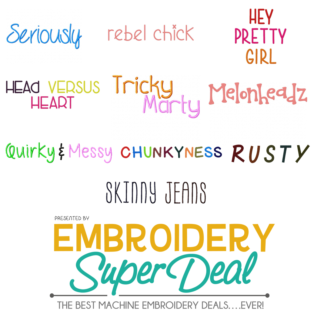 10 New Adorable Font Sets For Machine Embroidery All For Only 3 99