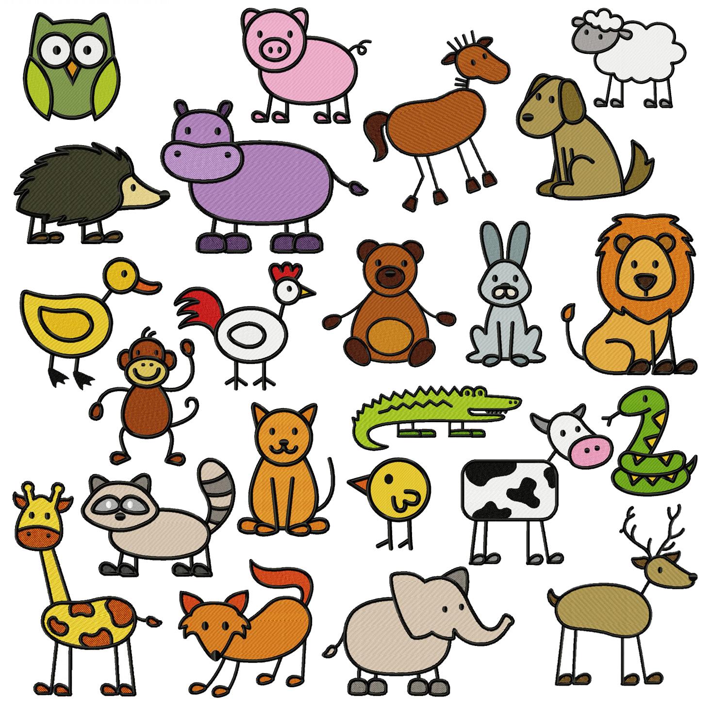 MASSIVE 23 Adorable Stick Animal Embroidery Designs Mega ...