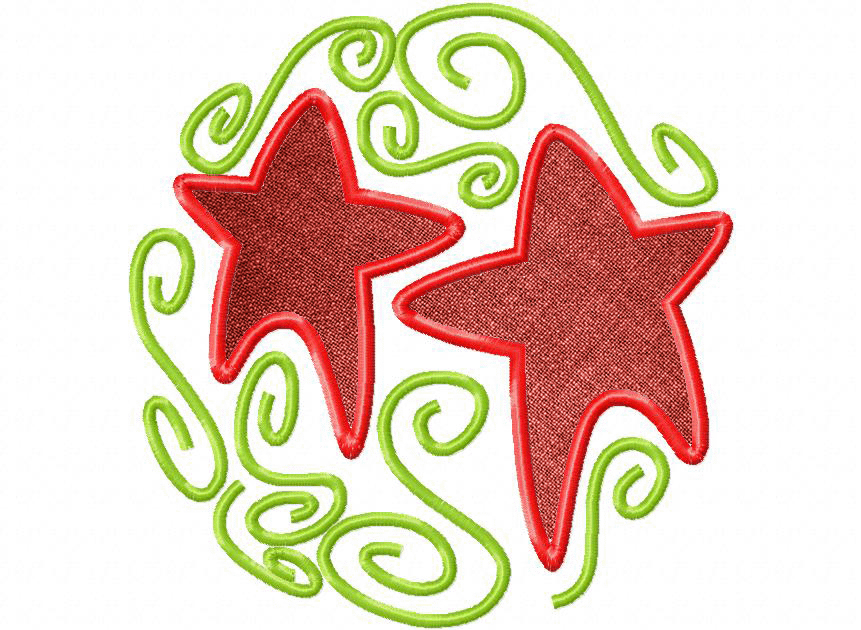 Artsy christmas includes applique and stitched embroidery