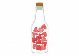 Bottle Of Hearts Applique 5x7 Inch