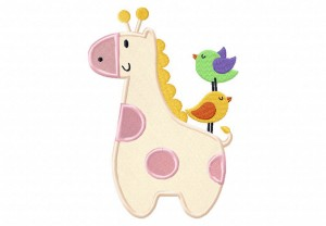 Giraffe-and-Birds-Applique-5x7-Inch