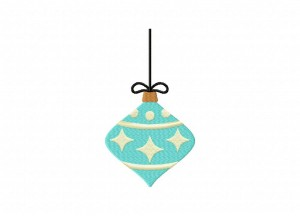 Teal Christmas Ornament Stitched 5_5