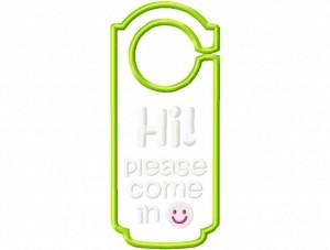 Door Hanger 10 Hi Please Come In