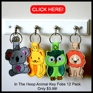 Machine Embroidery In The Hoop Animal Key Fobs