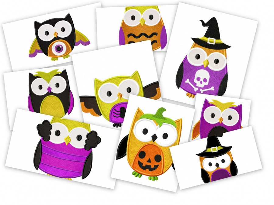 Spooky Halloween Owls - Stitched and Applique!