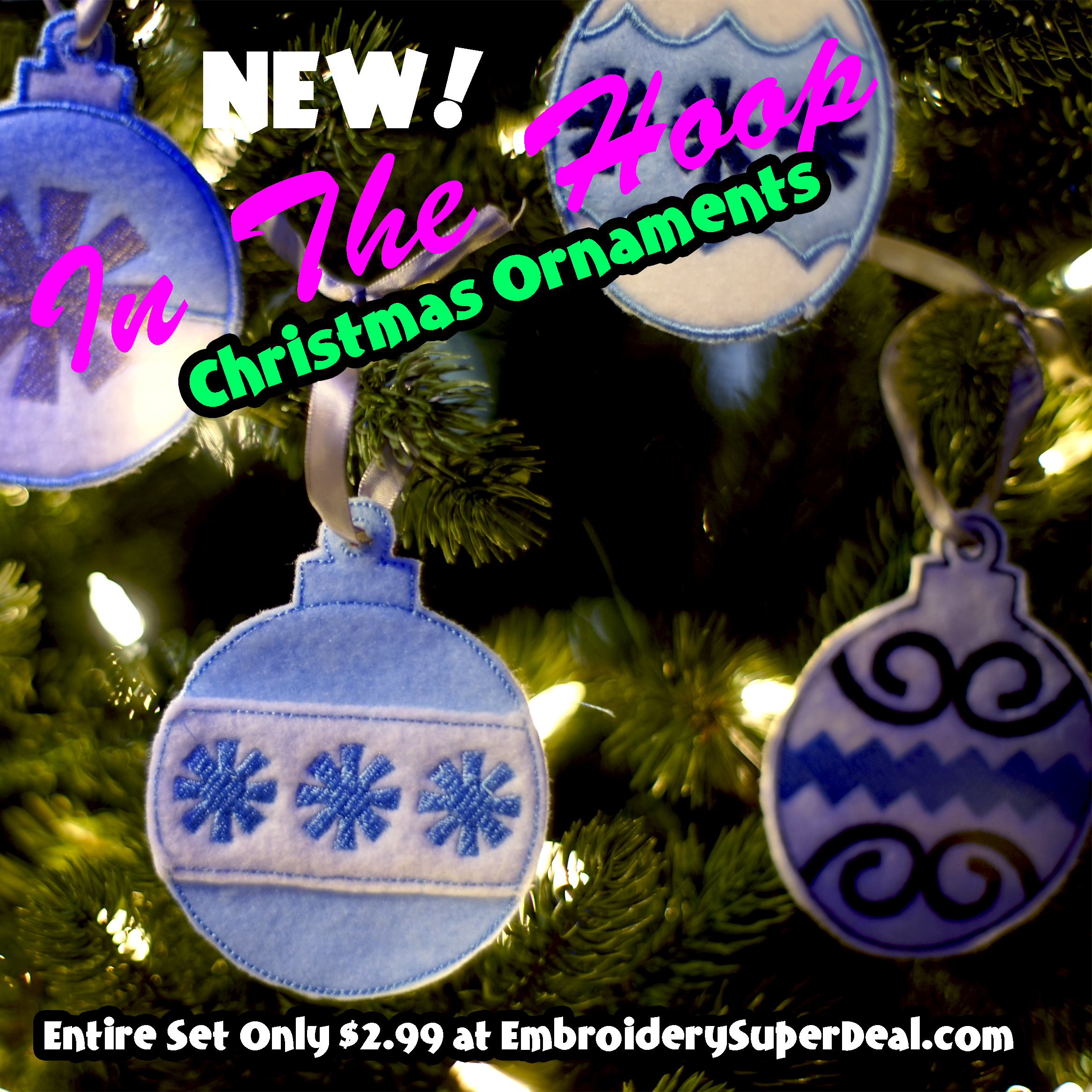 Embroidered christmas ornaments - In The Hoop Feltie Christmas Ornaments Mainsquare