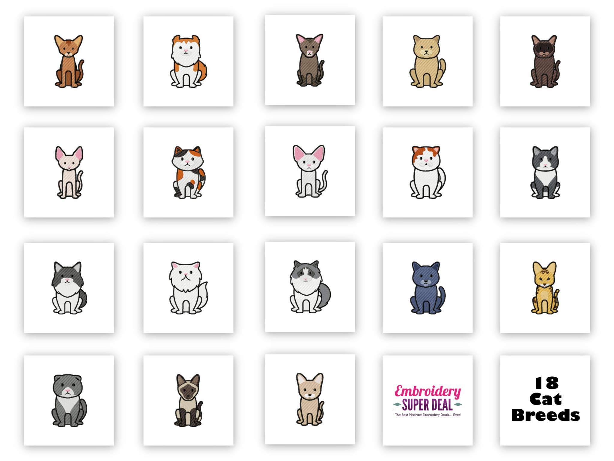Cat Breeds Pack of 18 ...