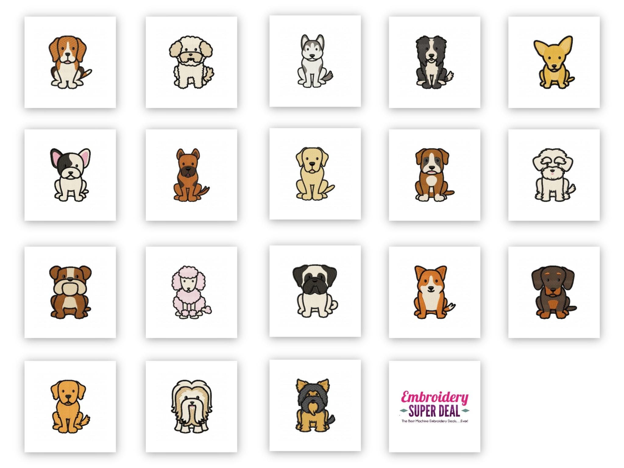 70 Designs 36 Dog Breeds Embroidery Design Pack Plus