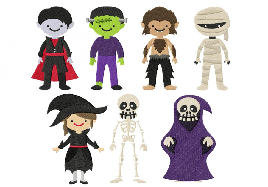 Halloween Monsters Machine Embroidery Designs