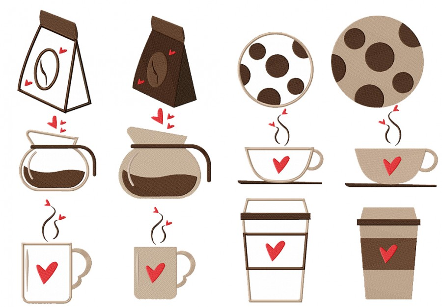 Coffee Love Machine embroidery designs stitched and applique