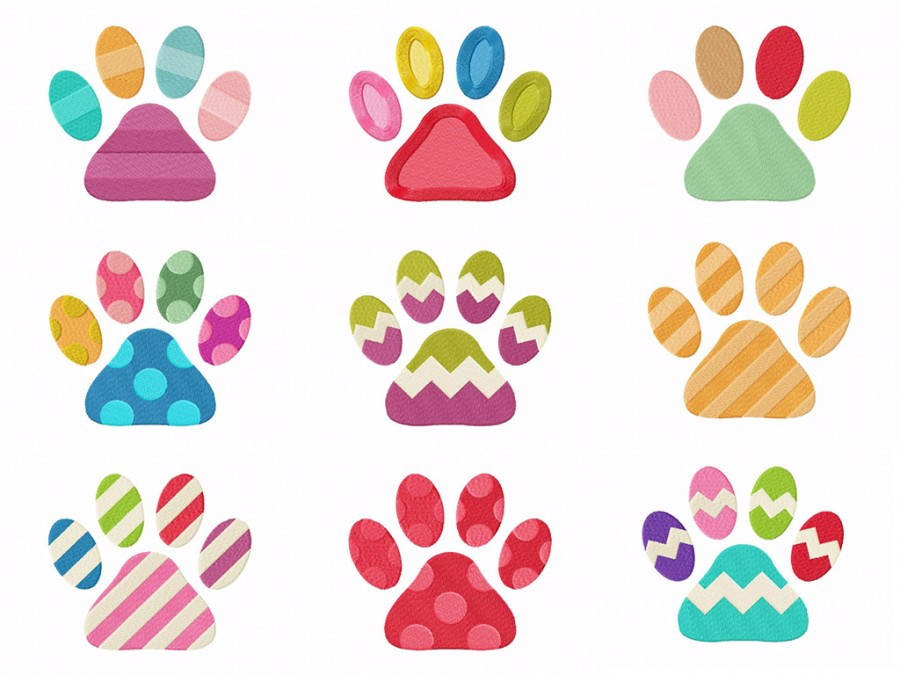 Cute Colorful Cat Paws Machine Embroidery Designs
