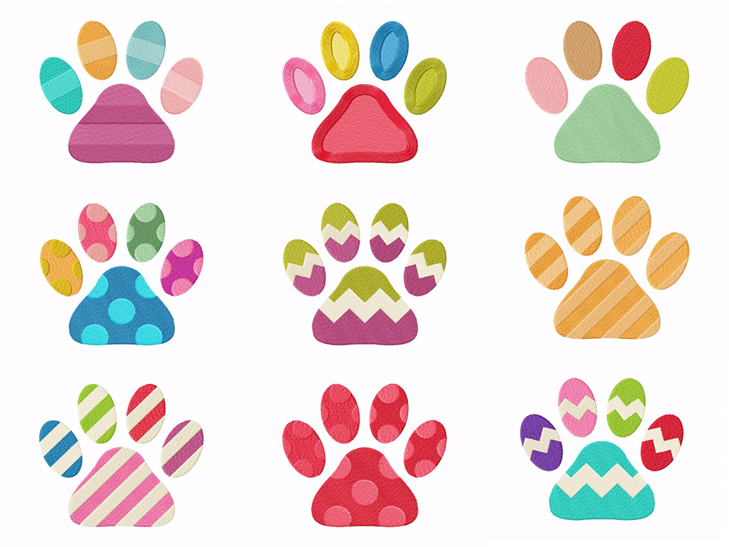 Cute Colorful Cat Paws Machine Embroidery Designs Pack Embroidery