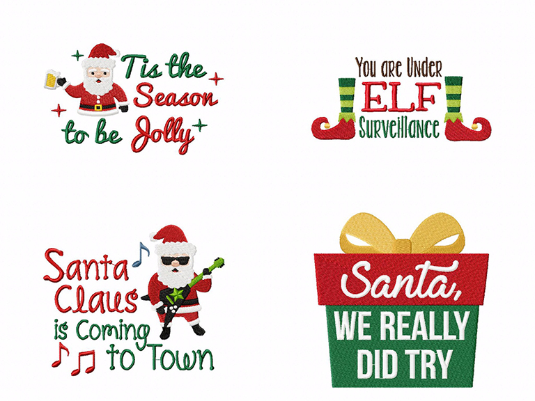 Santa, We Really Tried! 16 Cute & Funny Quotes Machine Embroidery Pack