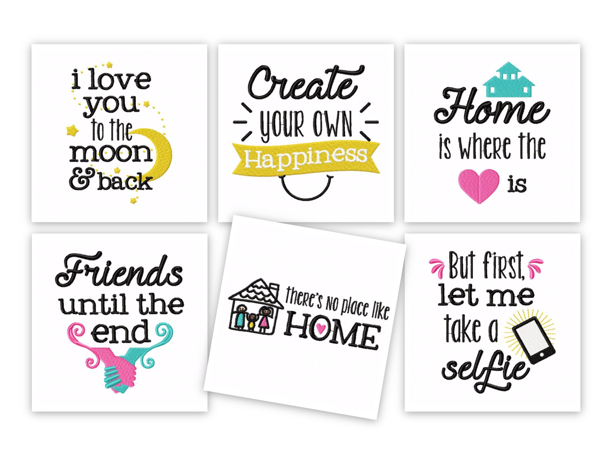Friends Family Quotes 12 Machine Embroidery Designs Embroidery