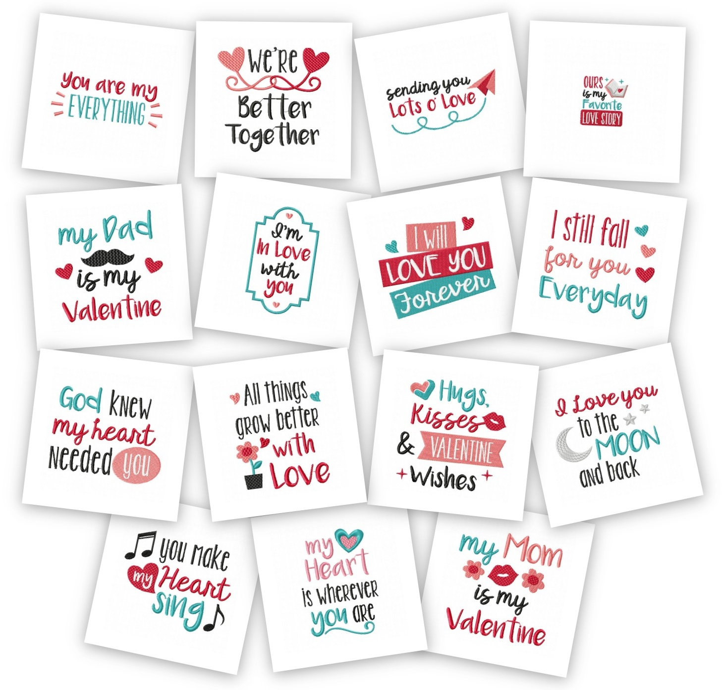 Valentine Quotes Embroidery Pack Embroidery Super Deal