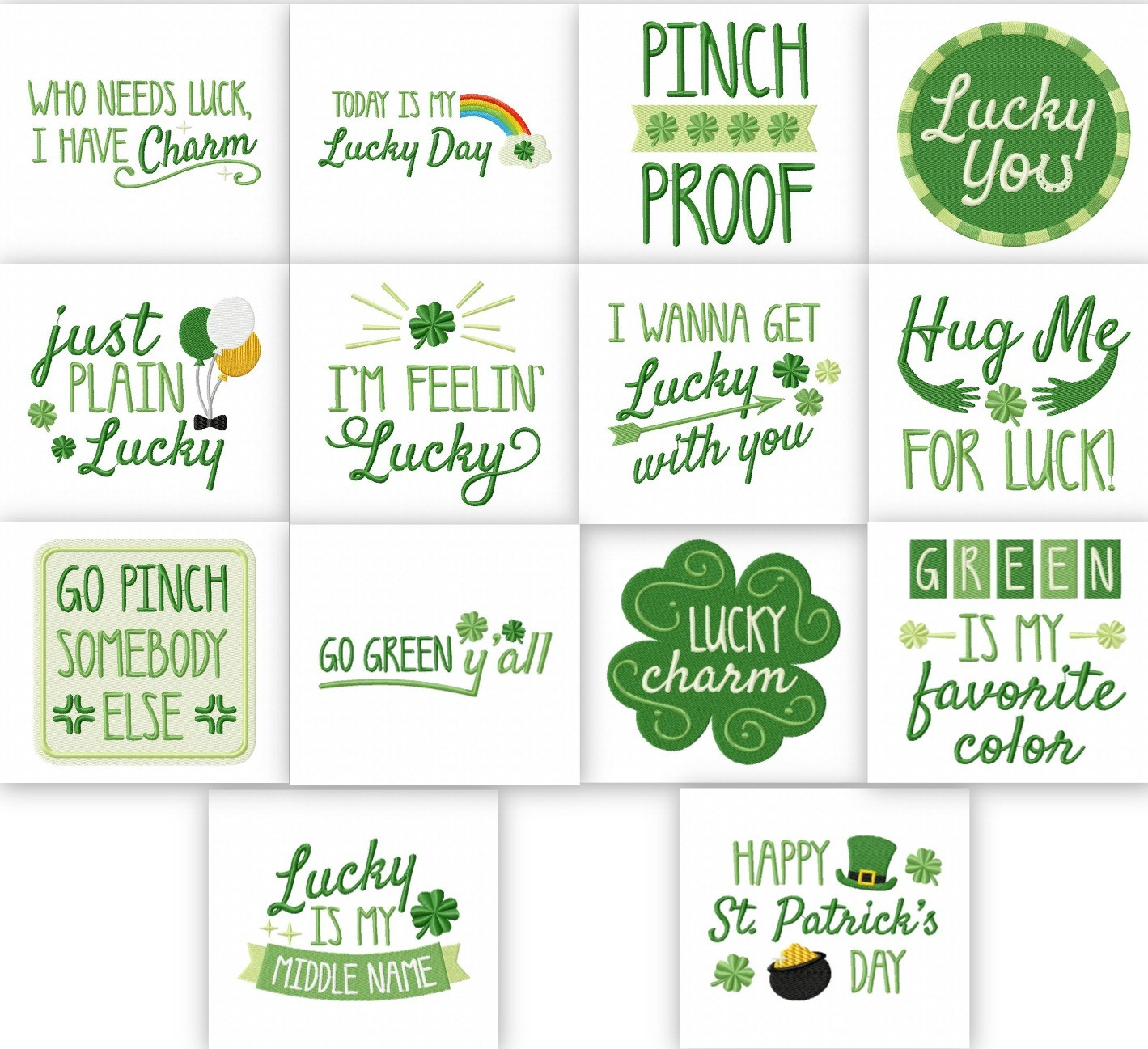 Lucky St Patricks Day Quotes Embroidery Pack