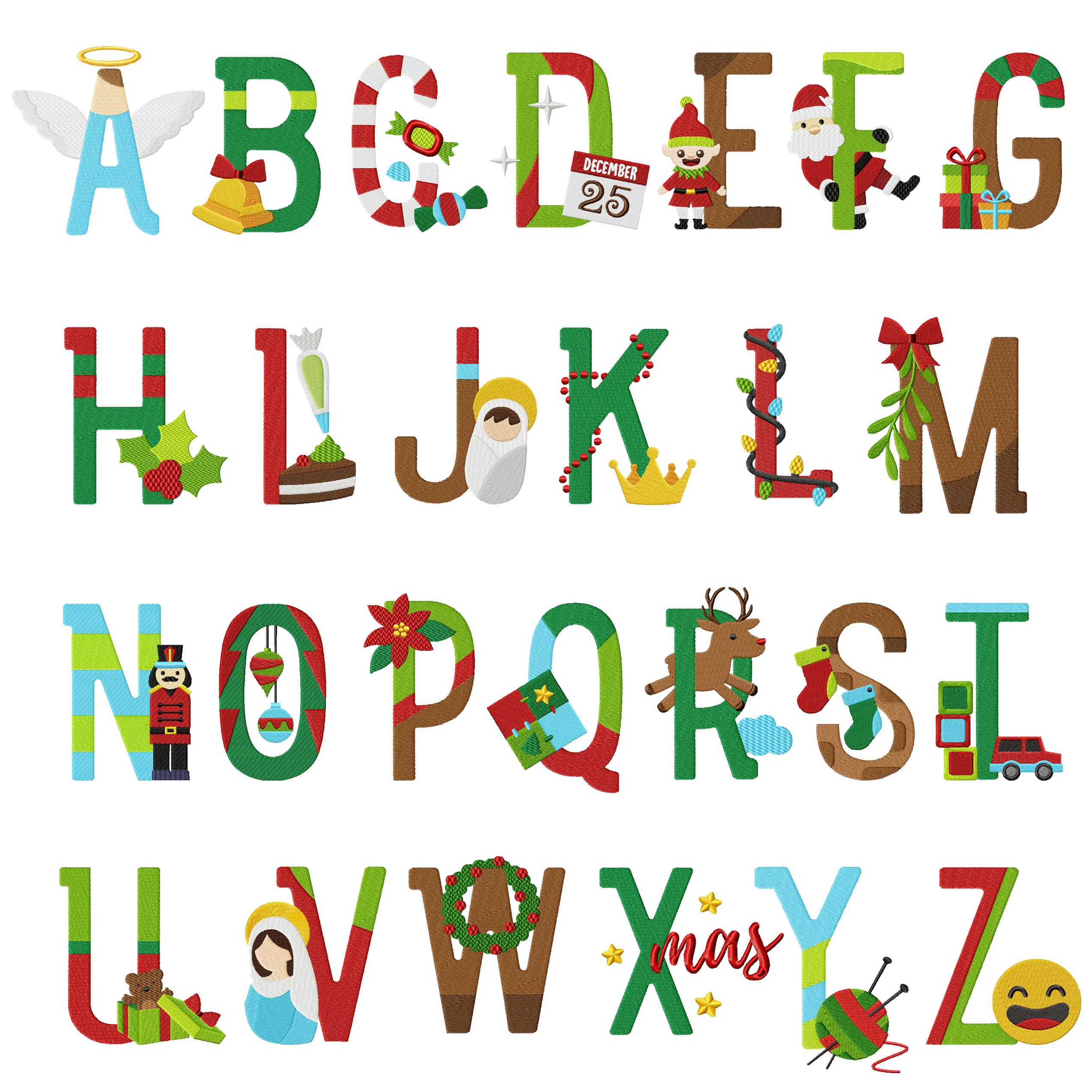 26 christmas alphabet holiday pack embroidery super deal - Alphabet noel ...