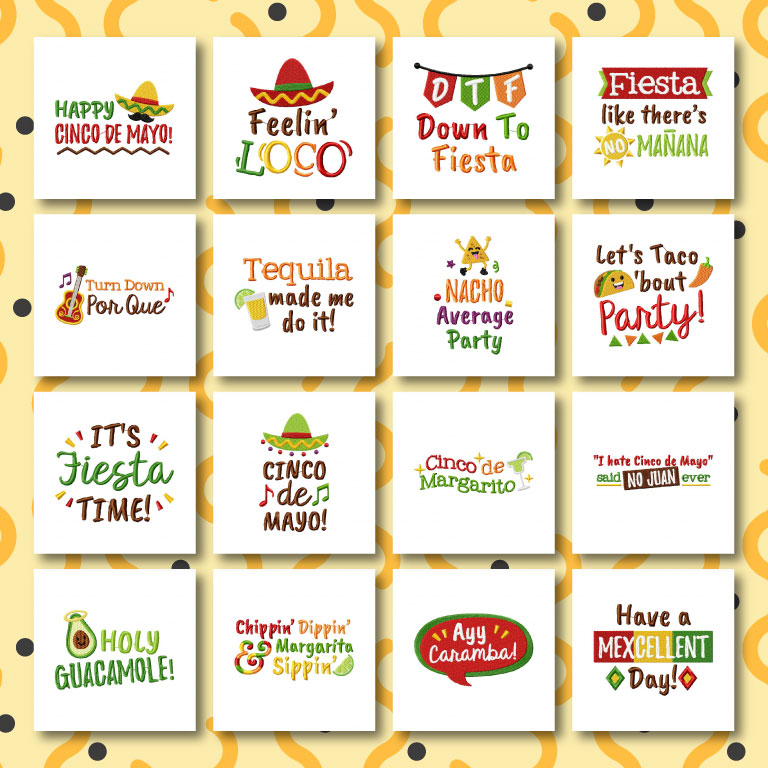 16 Cinco De Mayo Sayings Embroidery Design Pack Embroidery Super Deal
