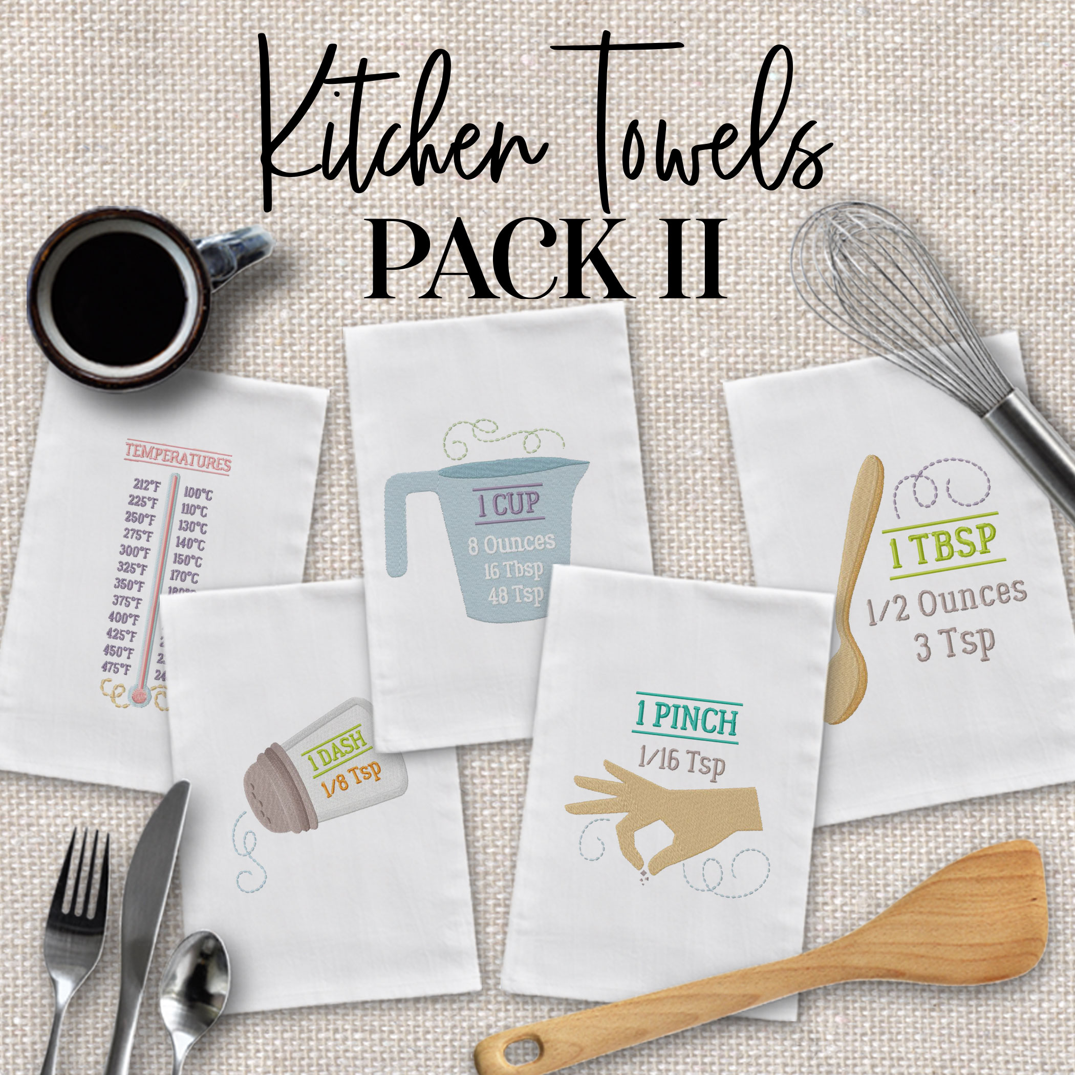 Kitchen Towels Pack II Embroidery Design Pack - Embroidery ...